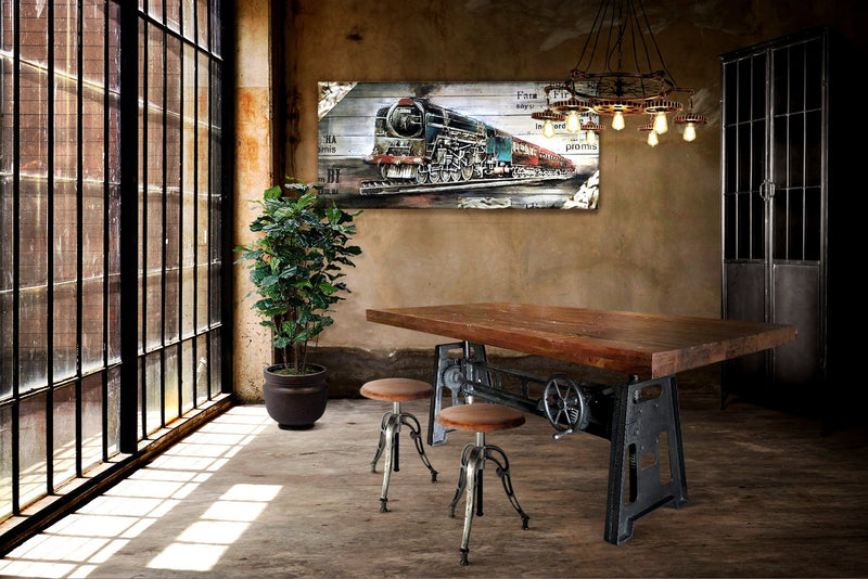 Adjustable Crank Dining Table - Iron Base - Distressed Hardwood Top - Rustic Deco Incorporated