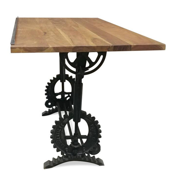 Industrial Adjustable Height Drafting Desk - Cast Iron Crank Base - Tilt Top - Rustic Deco Incorporated