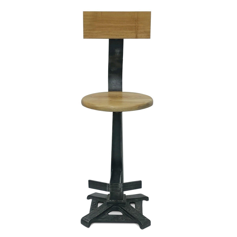 Industrial Bar Stool with Back - KNOX Embossed Cast Iron - Rustic Deco Incorporated
