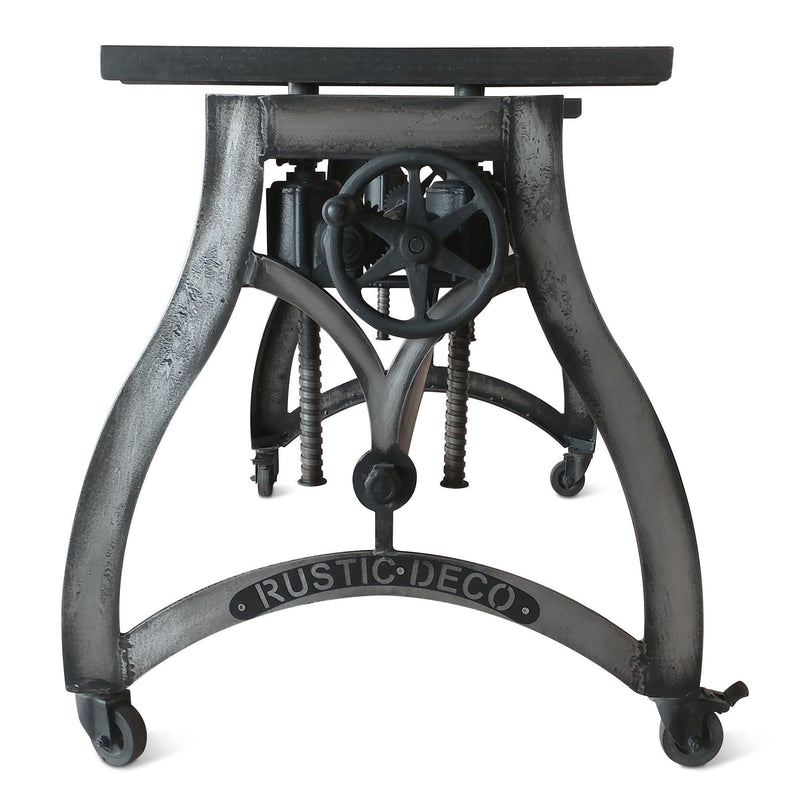 Industrial Dining Base - Adjustable Crank Base - Casters - Embossed Iron - Rustic Deco Incorporated