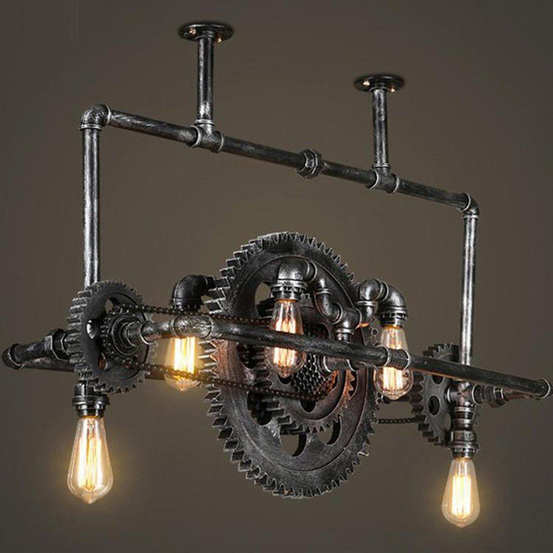 Industrial Steampunk Ceiling Lamp - Iron Pipe - Sprocket Belly Light - Rustic Deco Incorporated