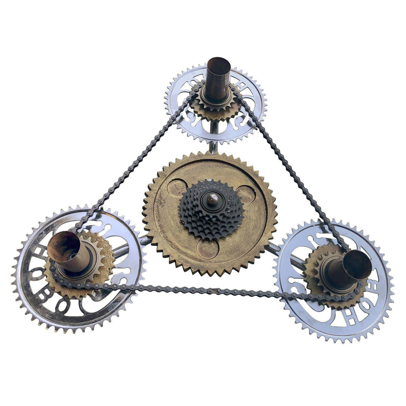 Industrial Steampunk Pendant Lamp - Side Winder Cogs - Ceiling Light - Rustic Deco Incorporated