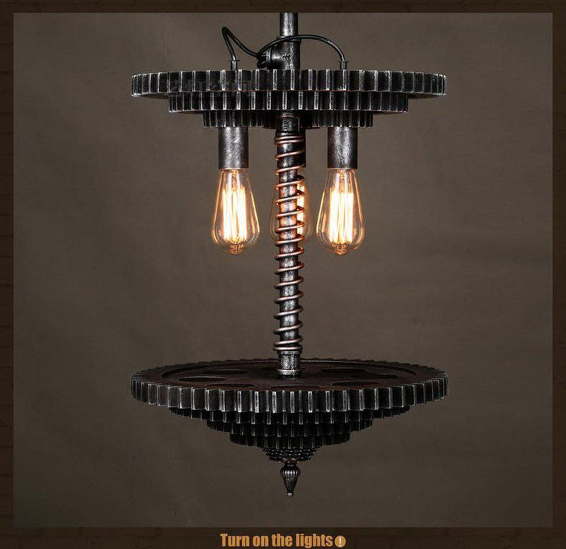 Industrial Steampunk Pendant Lamp - Stacked Sprockets - Rustic Deco Incorporated