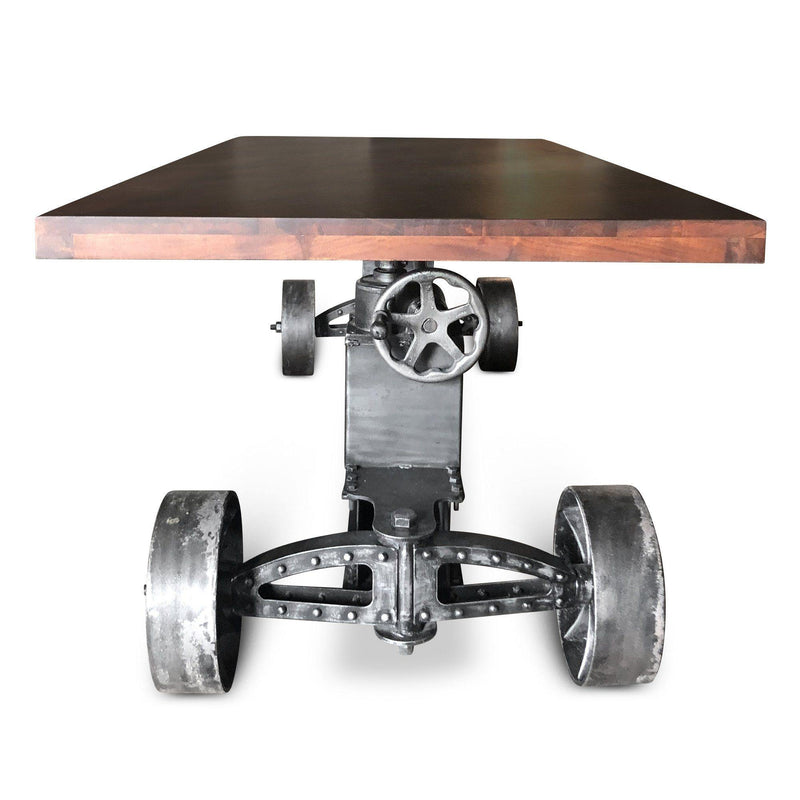 Industrial Trolley Dining Table - Iron Wheels - Adjustable Height Crank-Rustic Deco Incorporated