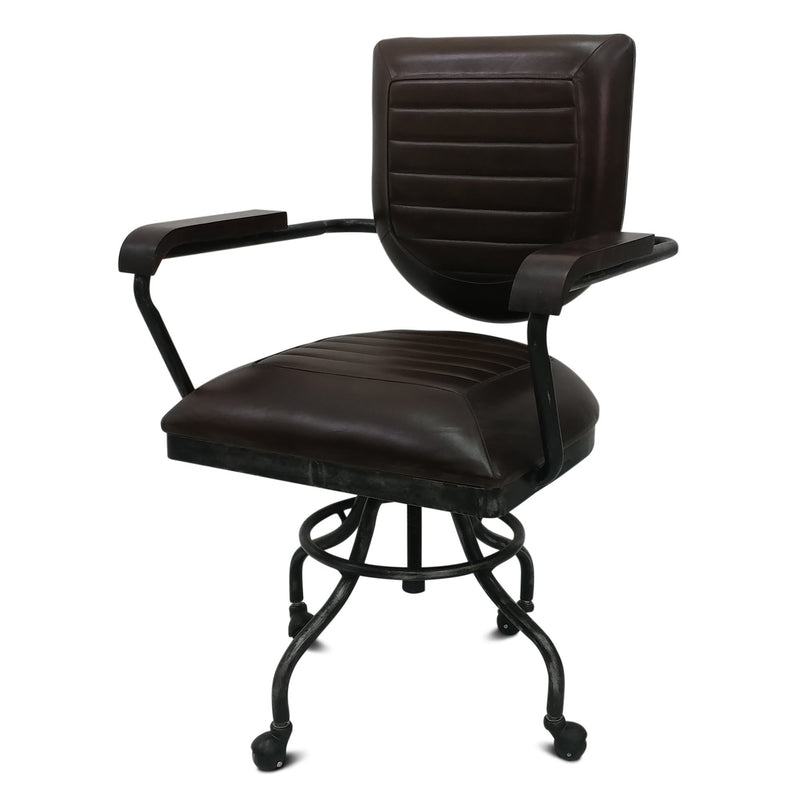 Industrial Vintage Style Swivel Leather Iron Office Chair Adjustable Height-Rustic Deco Incorporated