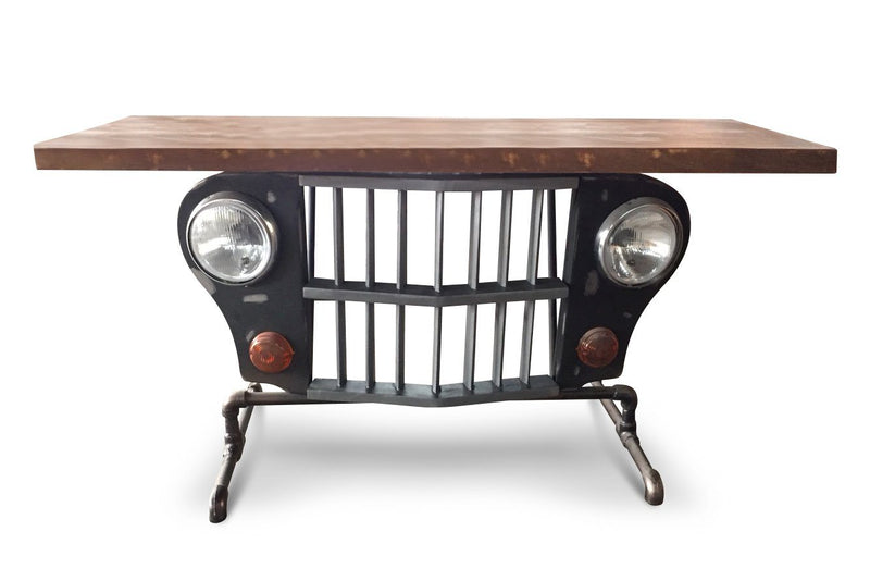 Jeep Grille Console Accent Table - Iron Pipe Base - Rustic Deco Incorporated