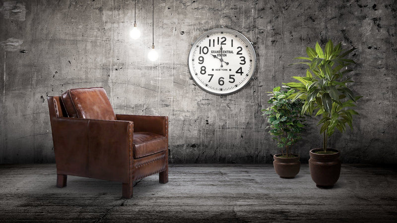 "Large Industrial Metal Wall Clock - Grand Central Station, NY - 30"" Silver Clock Rustic Deco"