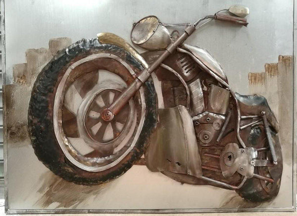"Motorcycle Climb Rustic 3D Metal Wall Art - 48"" x 36""-Rustic Deco Incorporated"