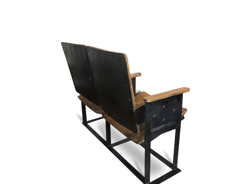 Retro Vintage Double Theater Cinema Seat - Reclaimed Wood - 2 Seats-Rustic Deco Incorporated