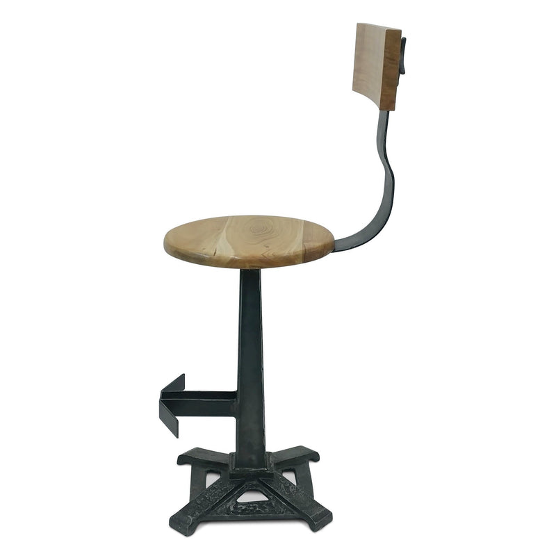 Industrial Bar Stool with Back - KNOX Embossed Cast Iron - Set of 2-Rustic Deco Incorporated
