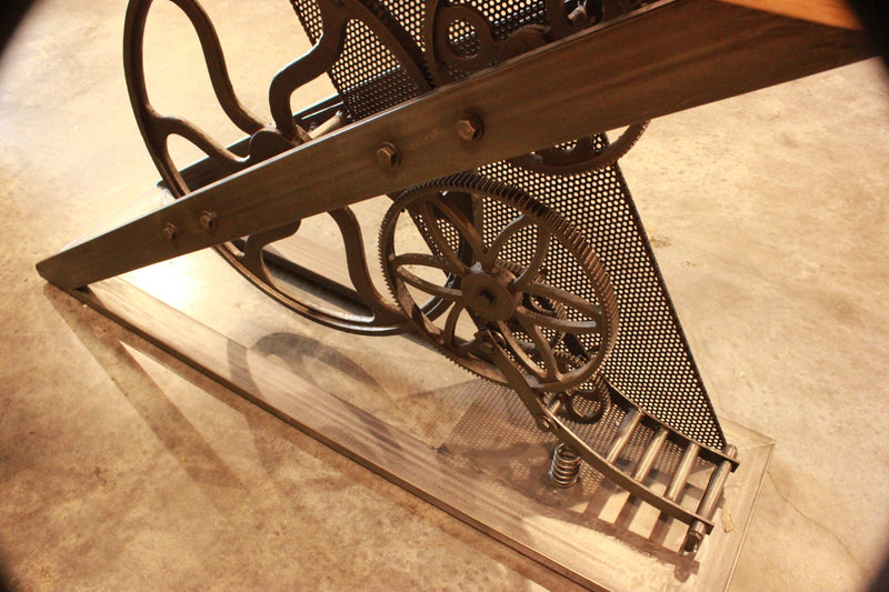 Steampunk Industrial Console Sofa Table - Natural Hardwood Top - Rustic Deco Incorporated