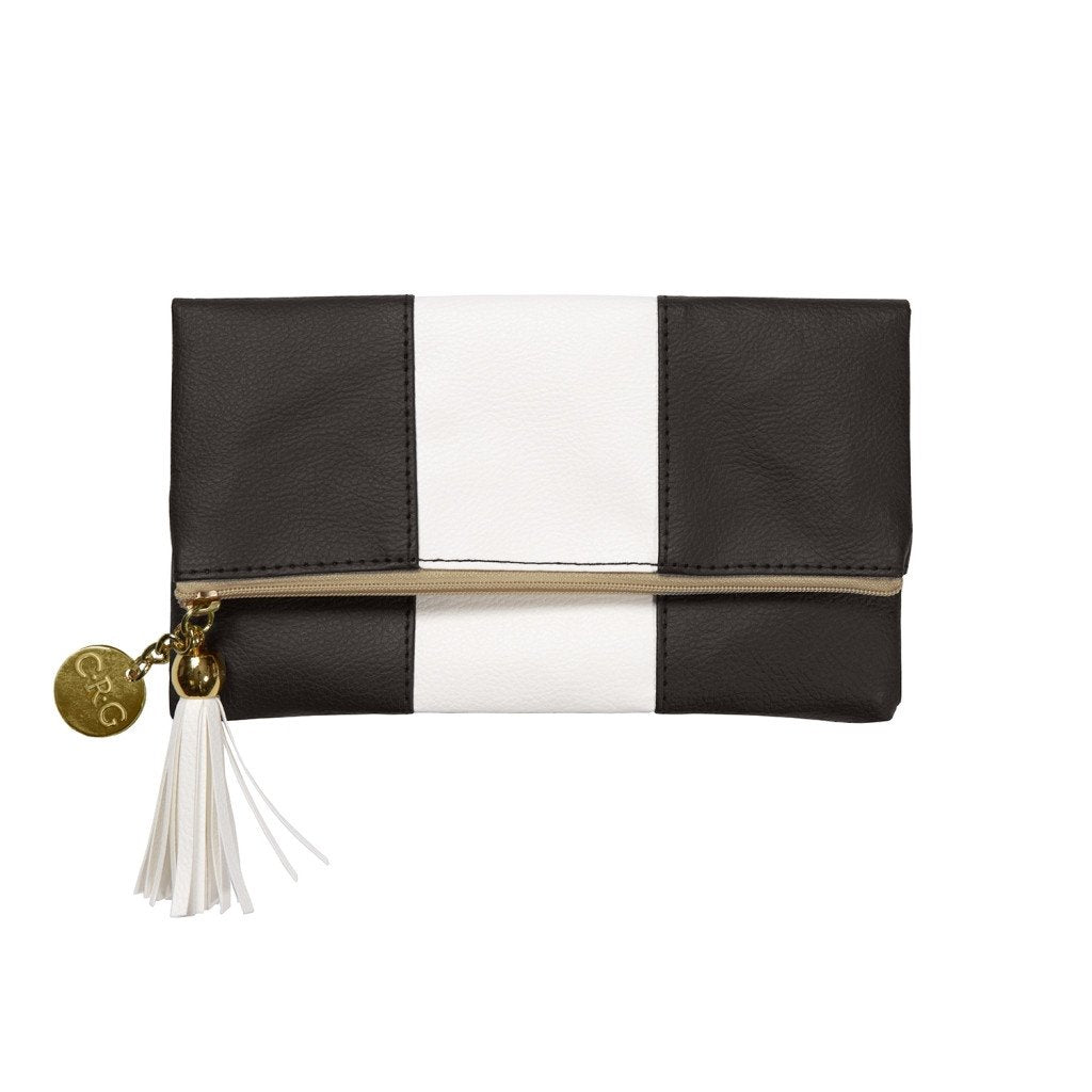 Pouches-C.R. Gibson-Leatherette Fold-Over Case - Ciao (Black & White) - Petals and Postings