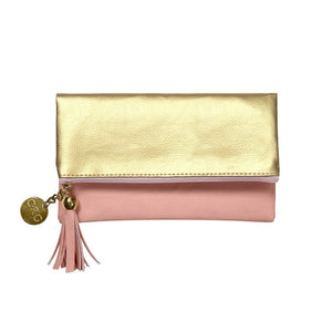 Pouches-C.R.Gibson-Leatherette Fold-Over Case - Going Places (Blush & Gold) - Petals and Postings