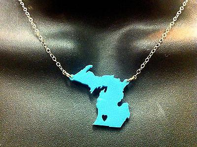 Moon and Lola - Michigan Heart State Necklace - Turquoise - Petals and Postings