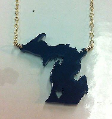 Moon and Lola - Michigan Heart State Necklace - Navy - Petals and Postings
