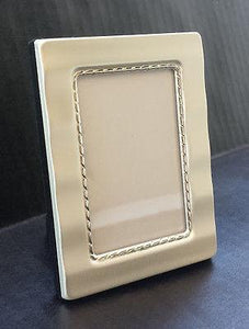 "Wedding-Mini Photo Frame - 2 1/16""x3 1/16"" - Wave Matte Silver Plated - Wedding Favor - Petals and Postings"