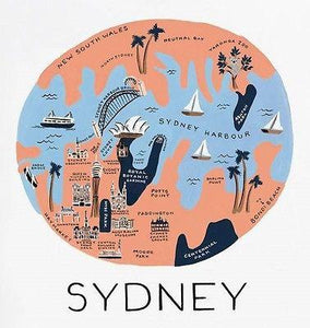 "R Paper Co. - Sydney - Art Print  - 11""x 10.3"" - Australia/ Map Lovers! - Petals and Postings"