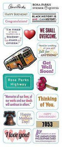 Stationery-Rosa Parks - Quotable Notables -  Blank note card with sticker quotes - Petals and Postings