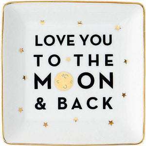 """Love You to the Moon & Back"" Trinket Tray - Petals and Postings"