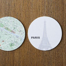 Load image into Gallery viewer, Drinkware-Drink Coasters - Design Ideas - MapCoasters - Paris - Petals and Postings