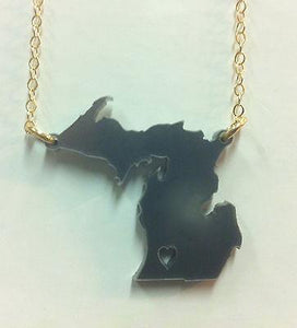 Moon and Lola Michigan Heart State Necklace - Slate - Petals and Postings