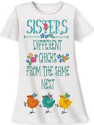 Relevant Products Gift Bag Sleep Shirt - Sisters:Different Chicks - Petals and Postings