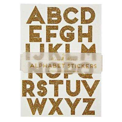 Gold Sparkle Alphabet Stickers - Petals and Postings