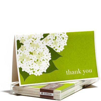 Stationery-Thank You Cards - Hydrangea - Snow and Graham - Set of 8 - Petals and Postings