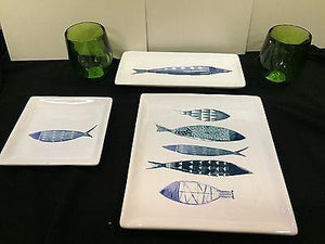 Ceramic Fish Plate - Malaga Fish Pattern - Boston International - Petals and Postings