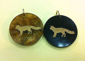 Moon and Lola Fox Charm - Multiple Colors available - Black or Tiger's Eye - Petals and Postings