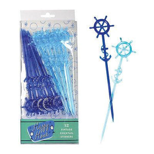 Party Supplies-Nautical Cocktail Stirrers - Set of 12 - Vintage Anchor and Ship Wheel - Petals and Postings