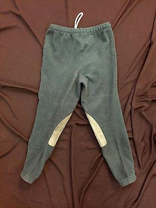 Sweatpants-Miller's Size Kid's Large Polyester Green Sweatpants with Kneepads - Petals and Postings