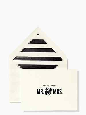 Kate Spade - Thank You Cards -  Thanks frm the Mr. & Mrs. Card Set-10 Cards - Petals and Postings
