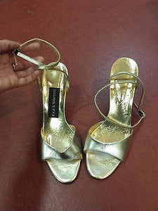 Shoes-Roz & Sherm - Women's Gold Metallic Ankle Strap Heels Size 7.5 - Italian made - Petals and Postings