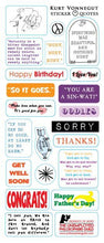 Load image into Gallery viewer, Kurt Vonnegut Greeting Card with Sticker Quotes