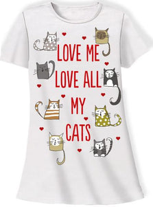 Love Me, Love My Cats Sleep Shirt with Gift Bag - Petals and Postings