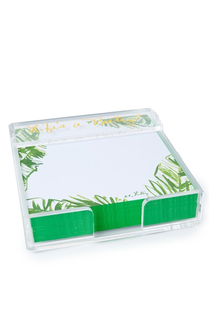 Lilly Pulitzer Painted Palms Note Sheets With Acrylic Holder