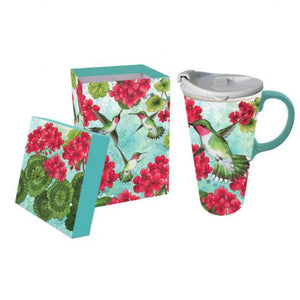 Hummingbird Trio Ceramic Travel Coffee Mug