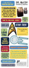 "Load image into Gallery viewer, Dr. Leonard H. ""Bones"" McCoy Greeting Card with Sticker Quotes"