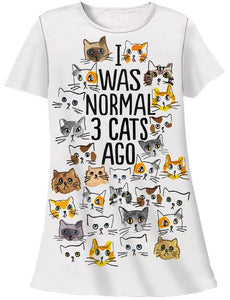 I Was Normal 3 Cats Ago Sleep Shirt with Gift Bag - Petals and Postings