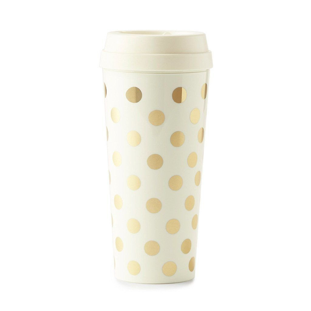 Kate Spade - Thermal Mug 16 oz - Gold Dots - Petals and Postings