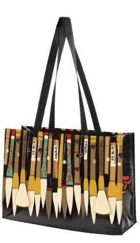 Linnea Design Paint Brushes Sumi Horizontal Tote Bag - Artwork by Johanna Riley - Petals and Postings