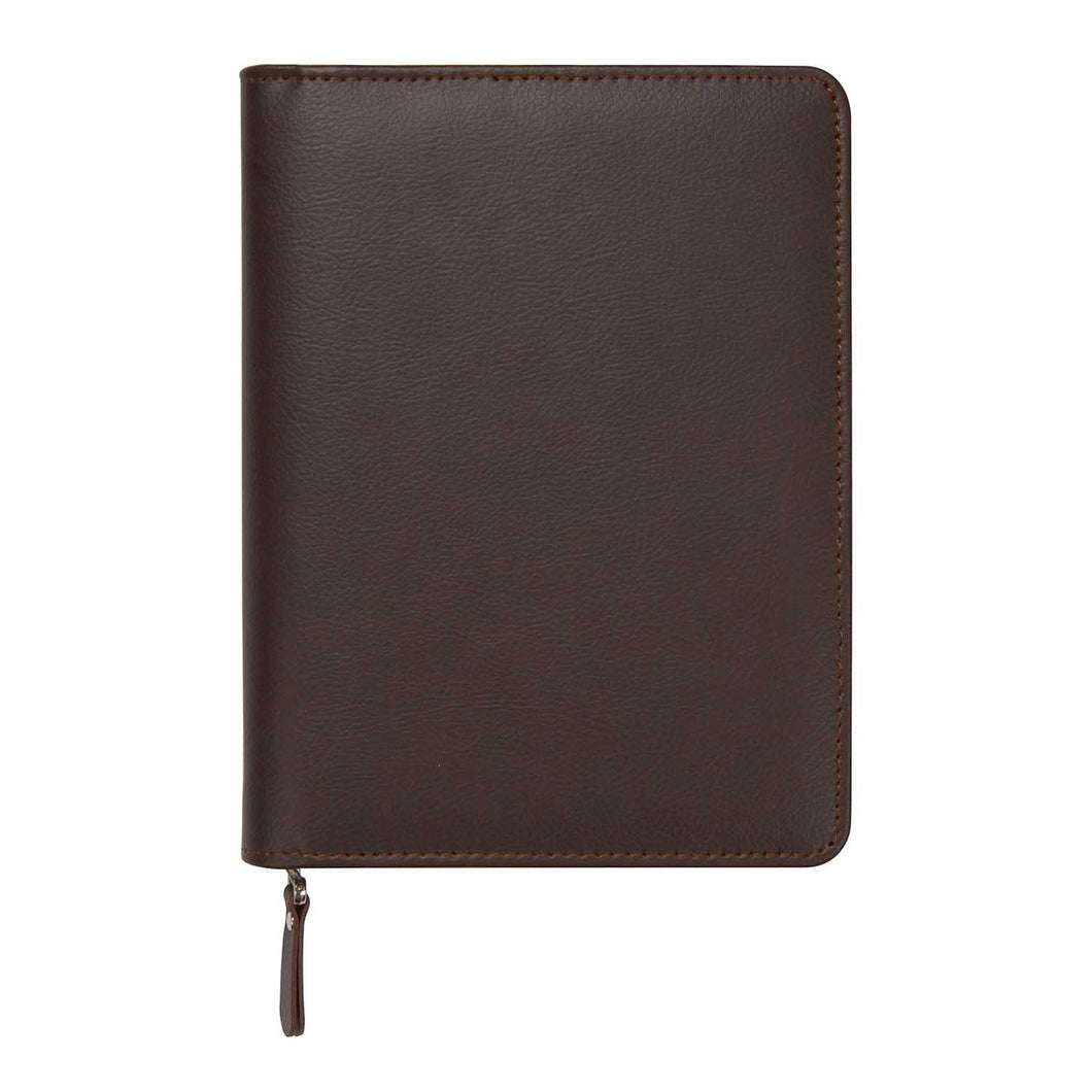 Brown Leatherette Zippered Journal - Petals and Postings