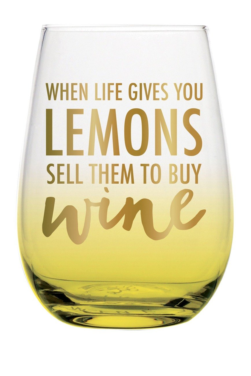 Slant When Life Gives You Lemons Steamless Wineglass