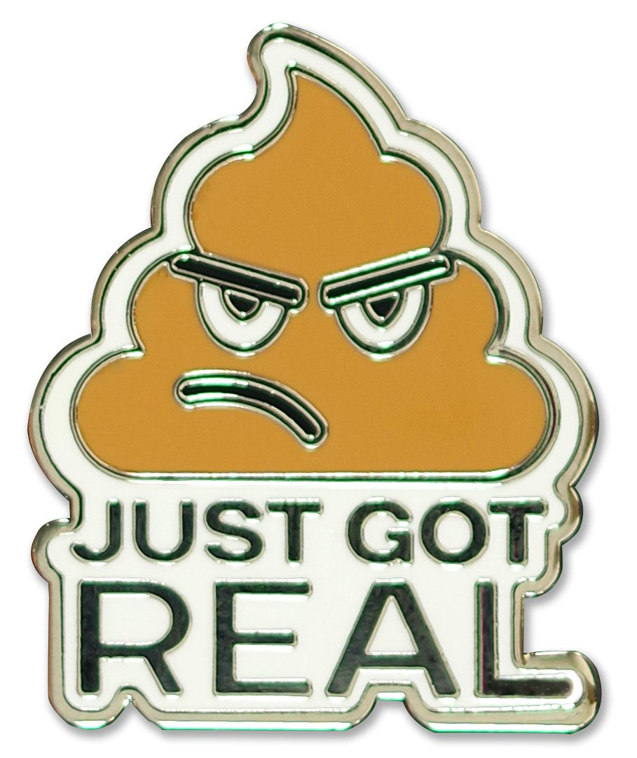 Peter Pauper Press Shit Just Got Real Enamel Pin