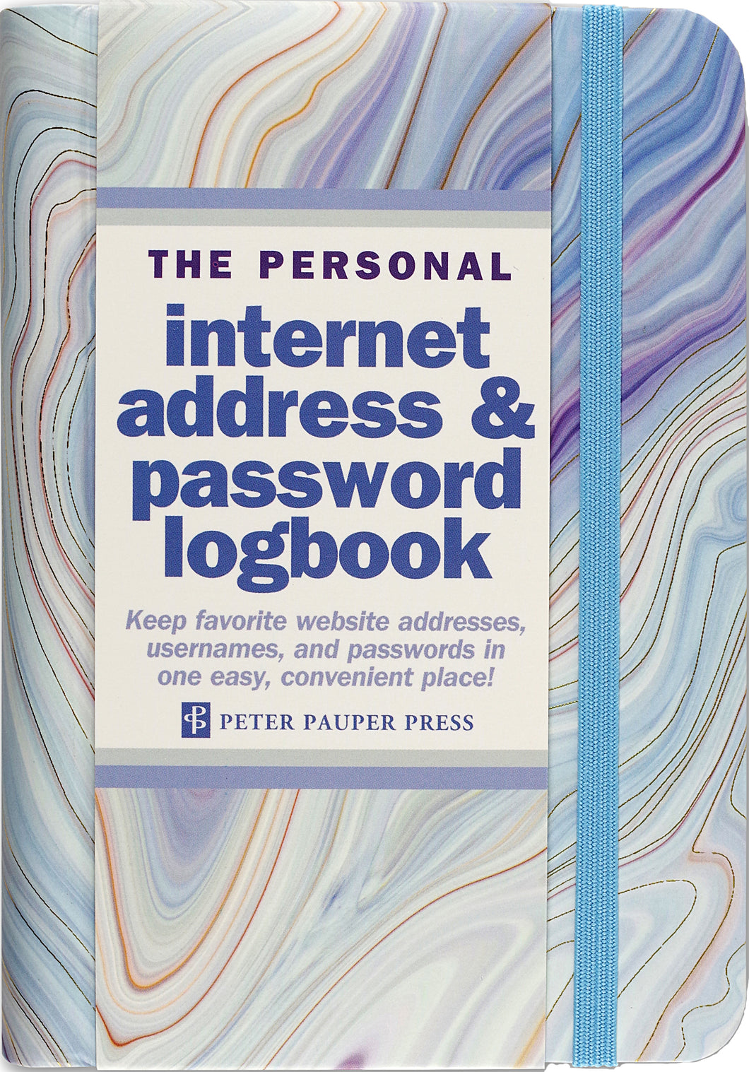 Peter Pauper Press Blue Agate Internet Address and Password Logbook
