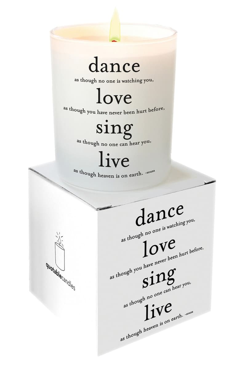 Quotable Dance Love Sing Live Ceramic Candle
