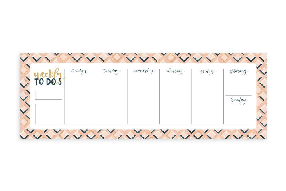 OneCanoeTwo Pink Tile Weekly To Do Notepad