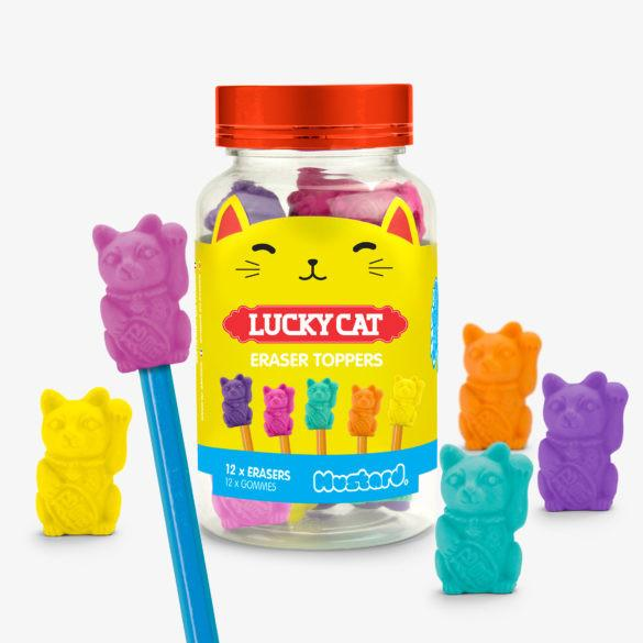 Mustard Lucky Cat Eraser Toppers