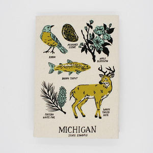 Detroit Bird City Michigan State Symbols Tea Towel